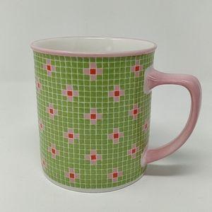 Starbucks 2004 Barista Pink Flowers Mosaic Mug